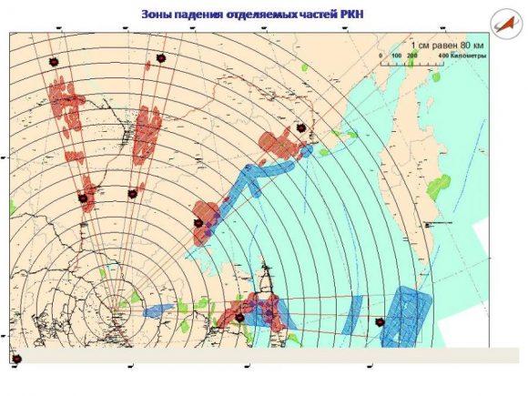 Azimuts de lanzamiento y zonas de caída de las primeras etapas de un Soyuz desde Vostochni (Roscosmos).