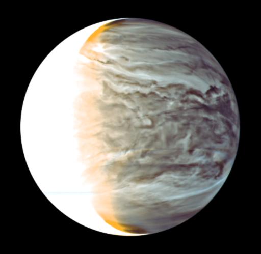 Imagen de Venus del 25 de marzo de 2016 tomada por Akatsuki a partir de imágenes tomadas en las longitudes de onda de 1,74 micras y 2,26 micras (JAXA).