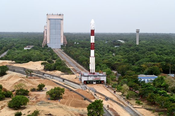 13panoramicviewoffullyintegratedpslv-c34withallthe20spacecraftsbeingmovedtosecondlaunchpadslp