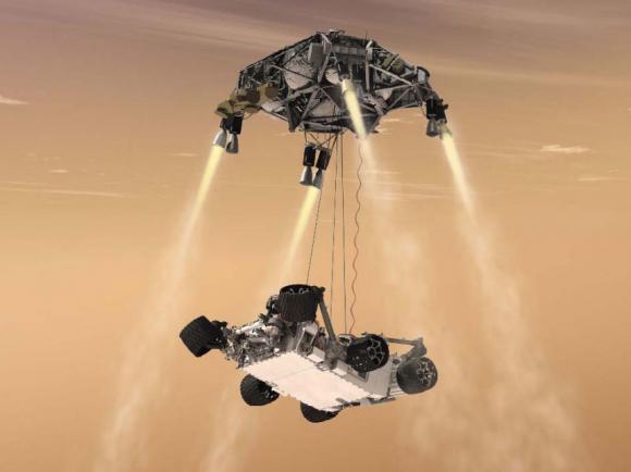 Diseño final de Curiosity con la etapa de descenso usando la técnica Sky Crane (NASA).