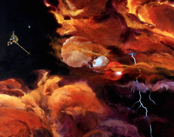 La sonda atmosférica Galileo entrando en la atmósfera de Júpiter. Es el artefacto humano más veloz que ha realizado una entrada atmosférica (NASA/JPL).