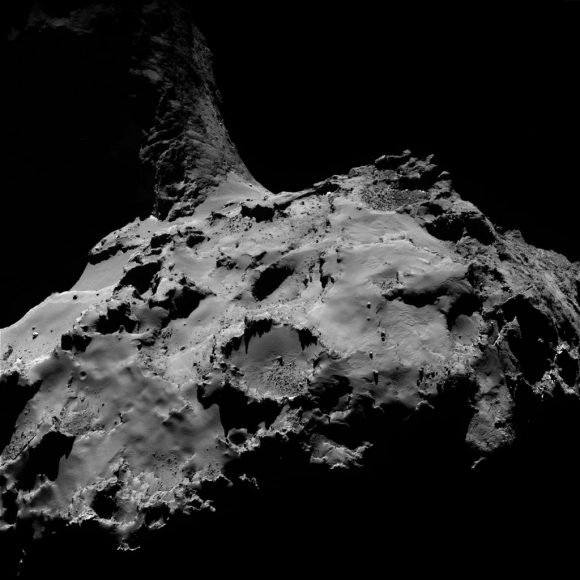 OSIRIS wide-angle camera image taken on 4 July 2016, when Rosetta was 13.3 km from Comet 67P/C-G. The scale is 1.28 m/pixel and the image measures 2.6 km. To preserve the correct orientation of the comet, the image has been flipped horizontally with respect to the one originally published on the OSIRIS Image of the Day website. Credits: ESA/Rosetta/MPS for OSIRIS Team MPS/UPD/LAM/IAA/SSO/INTA/UPM/DASP/IDA
