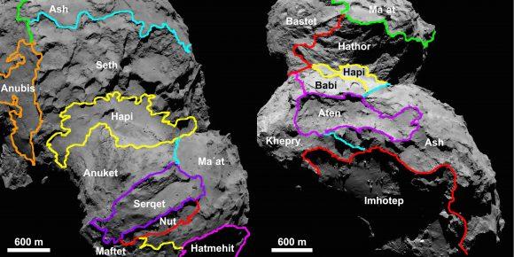 Regiones del núcleo de Chury (ESA/Rosetta/MPS for OSIRIS Team MPS/UPD/LAM/IAA/SSO/INTA/UPM/DASP/IDA).