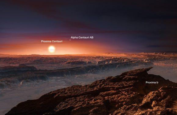 Recreación artística de Próxima b. Próxima aparece enorme en el cielo, mientras que el sistema binario Alfa Centauri A y B sería una pareja de estrellas relativamente brillante en el cielo (ESO).
