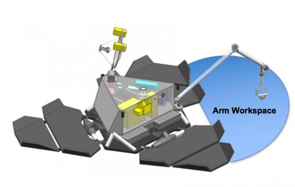 Brazo robot de la sonda apra capturar muestras del suelo de Europa (NASA/JPL).