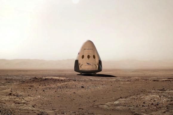 La Red Dragon en la superficie de Marte (NASA/SpaceX).