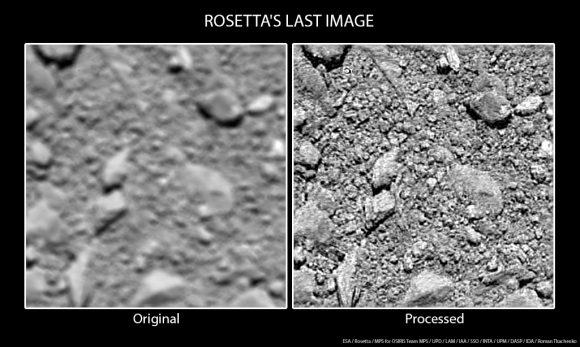 Última imagen de Rosetta antes del impacto a 20 metros (ESA/Rosetta/MPS for OSIRIS Team MPS/UPD/LAM/IAA/SSO/INTA/UPM/DASP/IDA/Roman Tkachenko).