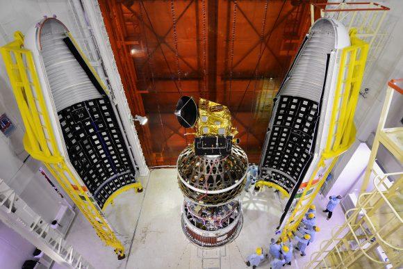 scatsatspacecraftintegratedwithpslv-c35withtwohalvesoftheheatshieldsseen