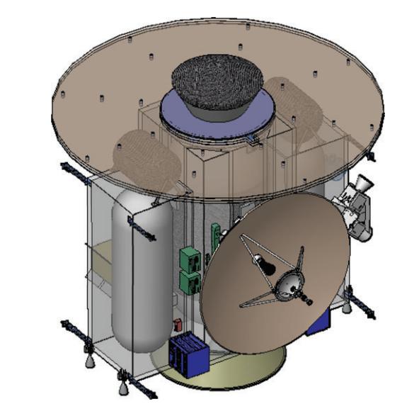 Diseño de LIFE, sin los ASRG. En la parte superior se aprecia la cápsula para las muestras (NASA).