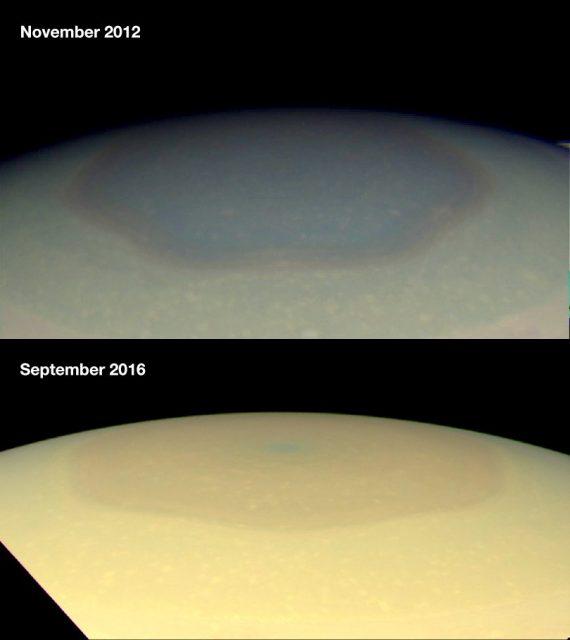 Diferencias en color del hexágono del polo norte de Saturno a lo largo del tiempo (NASA/JPL).