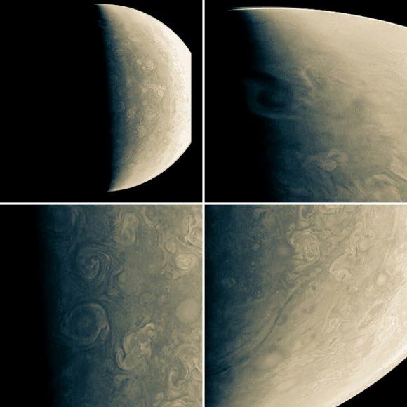 Varias vistas de las regiones polares captadas el 11 de dciembre (NASA/JPL-Caltech/SwRI/MSSS/Maksym Abramov).