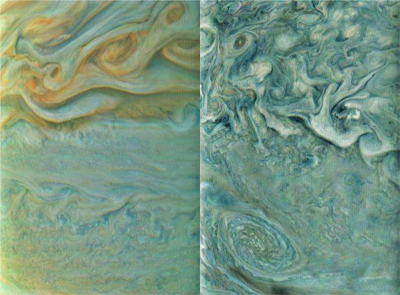 Más vistas de la atmósfera joviana (NASA/JPL-Caltech/SwRI/MSSS/Gerald Eichstädt).