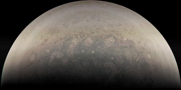 El polo sur de Júpiter ((NASA/JPL-Caltech/SwRI/MSSS/Sander Clement).