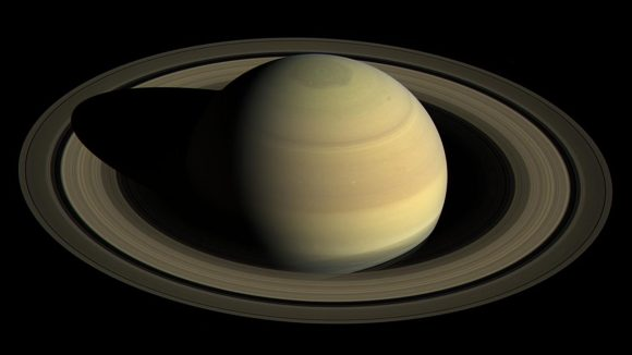 Saturno visto por Cassini el 25 de abril de 2016 a tres millones de km de distancia (NASA/JPL-Caltech/Space Science Institute).