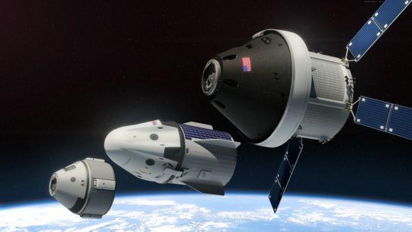 De izqda. a dcha.: naves Starliner, Dragon V2 y Orión (NAASA)-