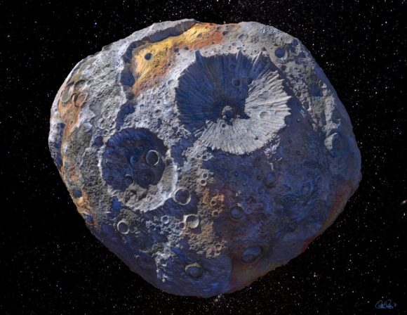 Representación artística del asteroide Psyche (ASU).