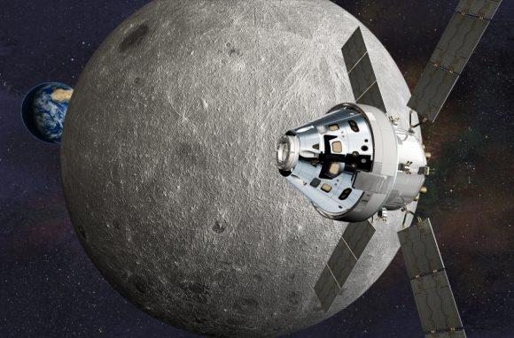 Nave Orión alrededor de la Luna (Lockheed-Martin).