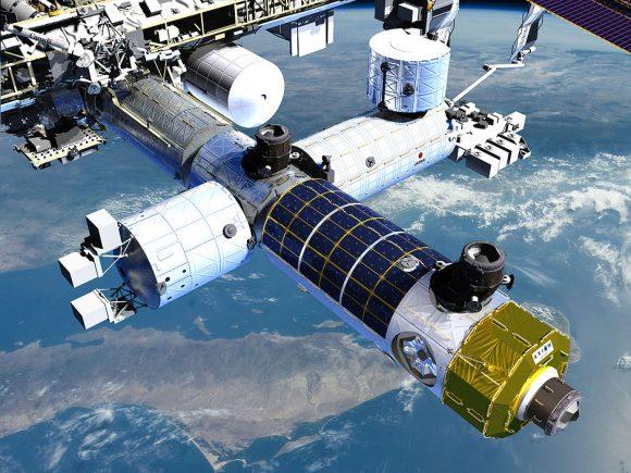 El módulo de Axiom acoplado a la ISS (Axiom).