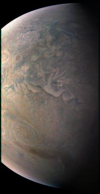 Júpiter el 11 de diciembre de 2016 (NASA/JPL-Caltech/SwRI/MSSS/Gerald Eichstaedt/John Rogers).