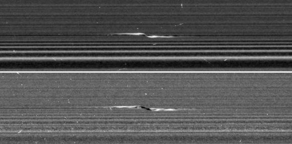 Estructuras denominadas 'hélices' en el anillo A (NASA/JPL-Caltech/SSI).