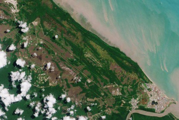 Kourou visto por el Sentinel 2A (ESA).