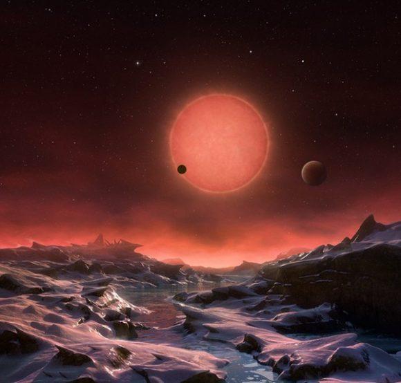 Los planetas de TRAPPIST-1 están muy cerca entre sí (ESO).