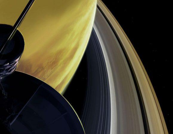 Representación artística del paso de Cassini por el hueco entre los anilos y el planeta (NASA/JPL-Caltech).