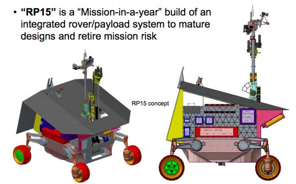 Vista del rover según su diseño de 2015 (NASA).
