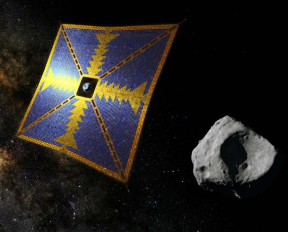 La vela solar aproximándose a un asteroide troyano (JAXA).