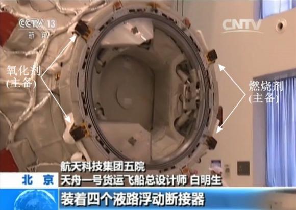 Detalle del sistema de acoplamiento APAS y (señalados por flechas) el sistema de trasvase de combustible en órbita (chinaspaceflight.com).