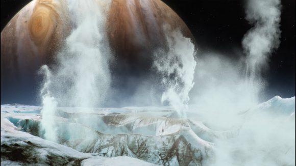 Representación artística de los posibles géiseres de Europa (NASA).