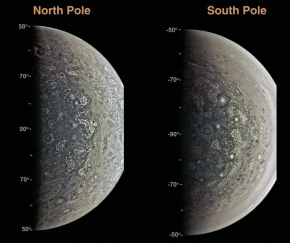 Diferencias entre el hemisferio norte y sur de Júpiter según JunoCam (Bolton et al.).