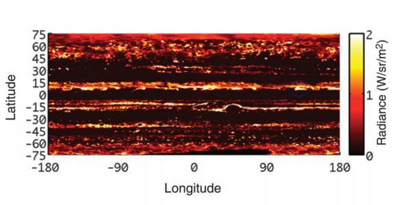 Zonas calientes de Júpiter vistas por JIRAM (NASA/J.E.P. Connerney et al).