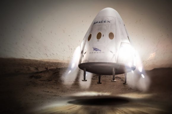 Una Red Dragon en la superficie de Marte (SpaceX).
