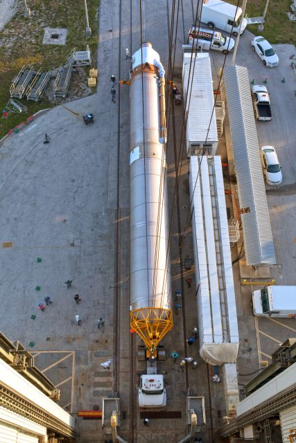 TDRS-M Atlas V First Stage Booster Lift to Vertical on Stand (LV
