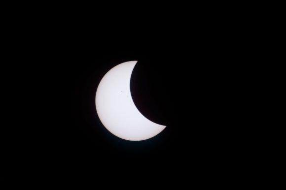 El eclipse visto desde la ISS (Roscosmos).