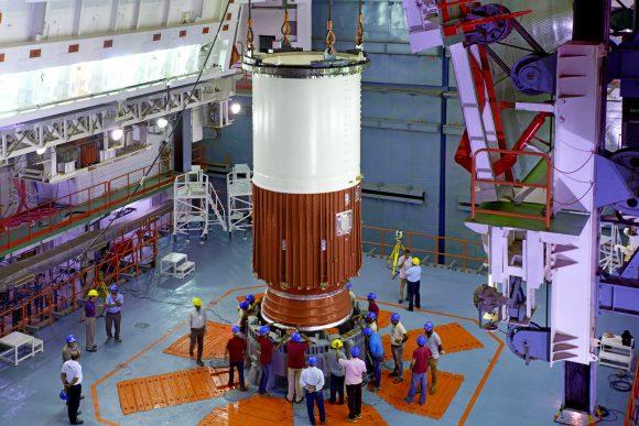 Segmento de la primera etapa de la misión C39 (ISRO).