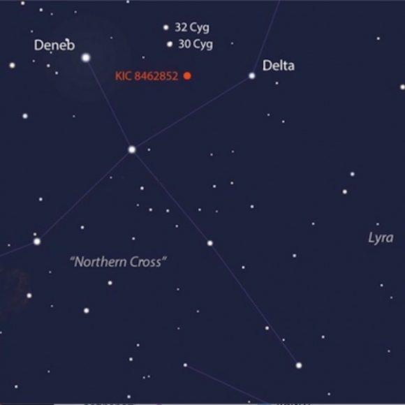Posición de la Estrella de Tabby en el cielo (Earth and Sky).