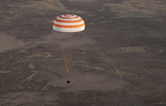 The Soyuz MS-04 returns to earth.