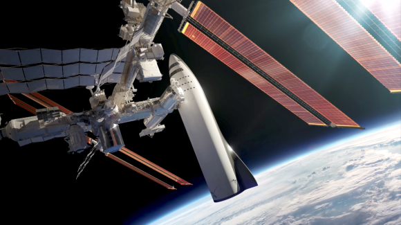 La BFS acoplada a la ISS (SpaceX).