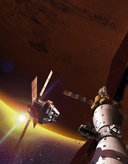 Una nave Orión acoplándose al Mars Base Camp (Lockheed-Martin).