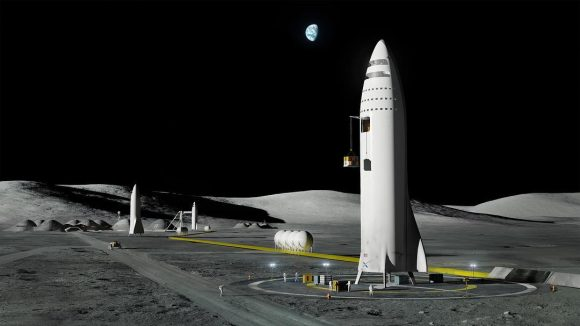La nave BFS de SpaceX en la colonia Moon Base Alpha (SpaceX).