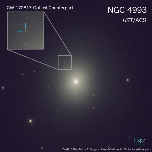 La contrapartida óptica vista por el telescopio espacial Hubble (NASA/ESA/STScI).