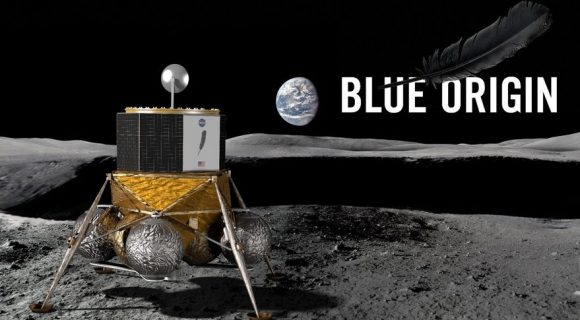 El módulo lunar reutilizable y criogénico Blue Moon de Blue Origin (Blue Origin).