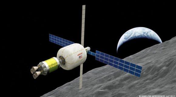 Propuesta de base orbital lunar de ULA y Bigelow (Bigelow).