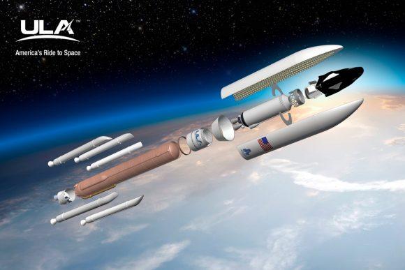 Configuración de lanzamiento del Dream Chaser Cargo en un Atlas V 552 (ULA).