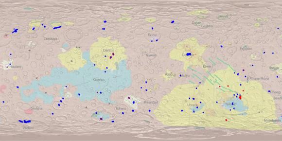 Mapa de Ceres con las manchas blancas (Palomba et al.).