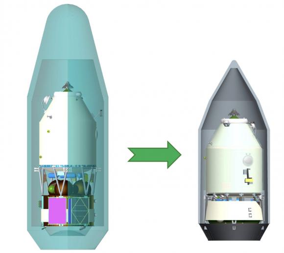 Nueva configuración (derecha) de la nave de carga TGK