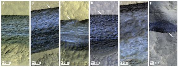 Los ocho acantilados donde se ha detectado la presencia de depósitos de hielo puro (Dundas et al.).
