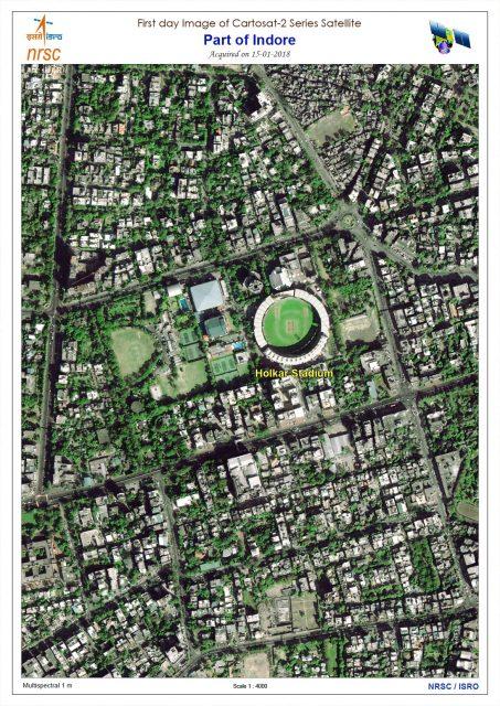 Primera imagen del Cartosat 2F (ISRO).